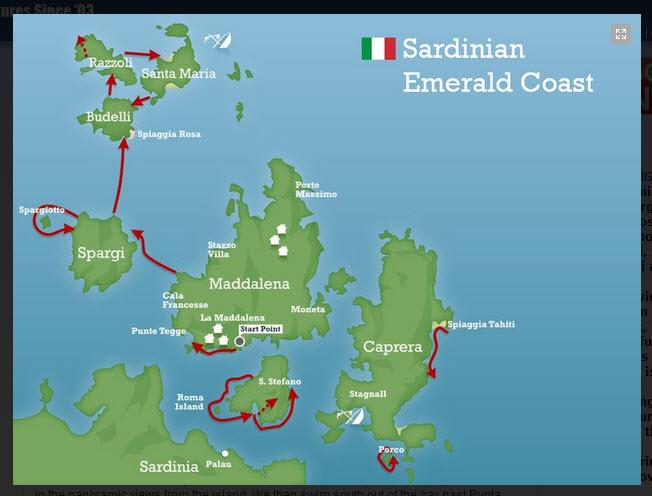 Sardinia swim map
